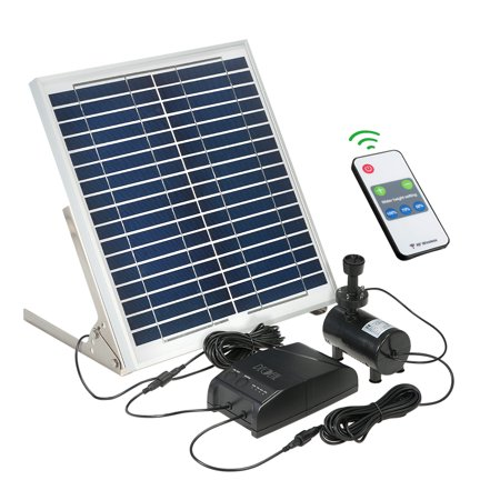 Decdeal Multi-functional Solar Power Fountain 15W Solar Panel + 3.6W Brushless Water Pump Kit with Storage Battery Remote Control for Garden Pond Bird (Best Batteries For Solar Power Storage)