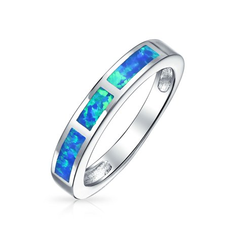 Geometric Blue Or Pink Created Opal Inlay Stackable Band Ring For Women October Birthstone 925 Sterling (Blue Tourmaline Emerald)