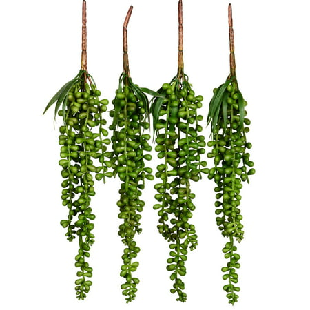 Artificial Hanging Plants Fake Succulents String of Pearls Fake Hanging Basketplant Lover's Tears Succulent Branch for Home Kitchen Office Garden Wedding Decor (4PC)](Wedding Succulents)