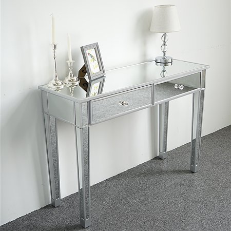 Zimtown 2 Drawer Mirrored Vanity Desk Console Dressing Silver Glass Table Modern Clear Glass Vanity Set