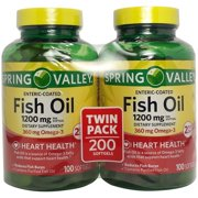Spring Valley Fish Oil Enteric Softgels, 1200 mg, 100 Ct, 2 Pk