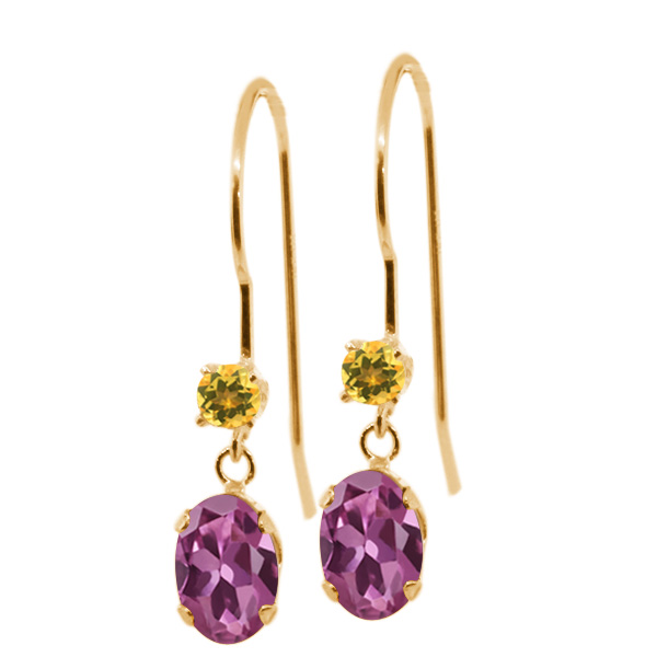 1.14 Ct Oval Pink Tourmaline Yellow Simulated Citrine 14K Yellow Gold Earrings by
