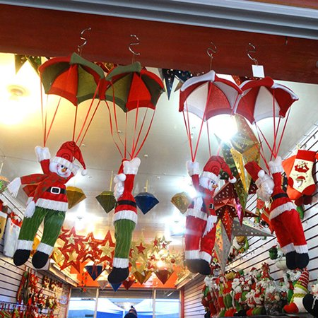 Heepo Xmas Parachute Snowman Santa Claus Ornament Christmas Tree Hanging Decoration