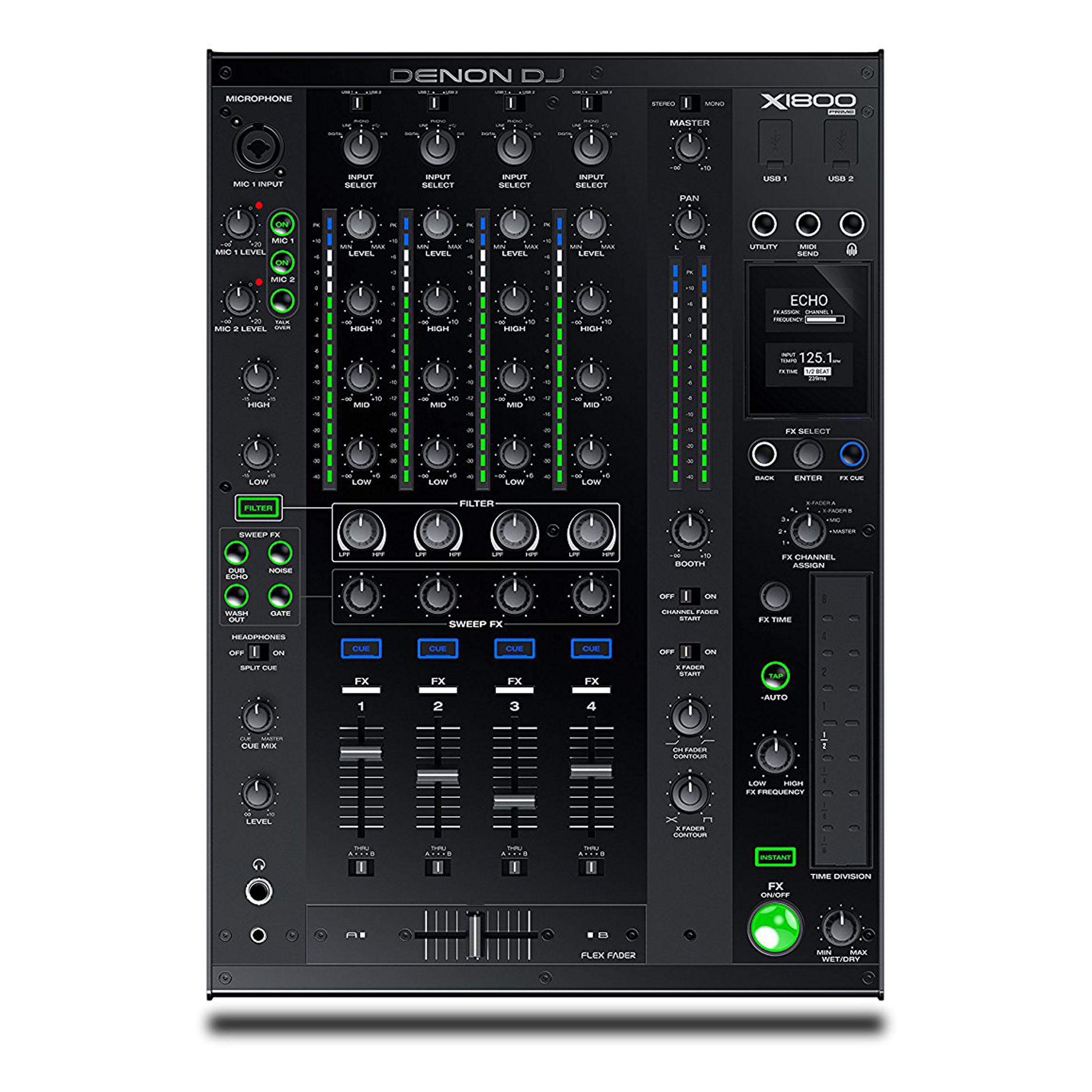 Denon DJ X1800 Prime | Professional 4-Channel Club Mixer by DENON
