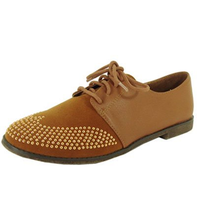 Qupid Strip 85 Studded Two Tone Lace Up Colorblock Oxford Flat
