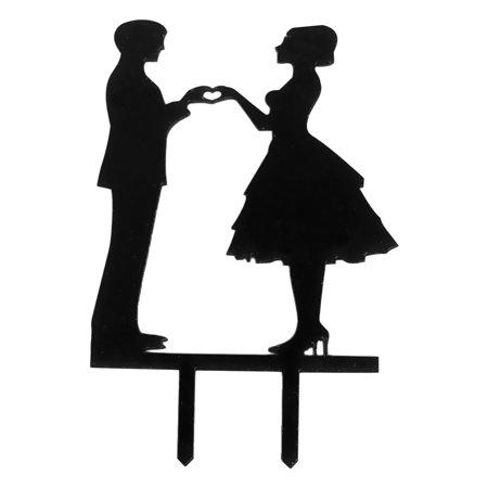Bride And Groom Gift Bags (Wedding Festival Acrylic Bride Groom Silhouette Cake Topper Black 17.5cm)