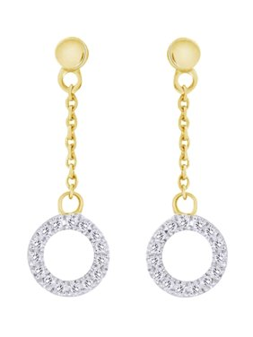 c854ead889ed25 Product Image 10k Yellow Gold Circle Dangle Earrings With Round Cut (0.05  cttw) White Natural Accents