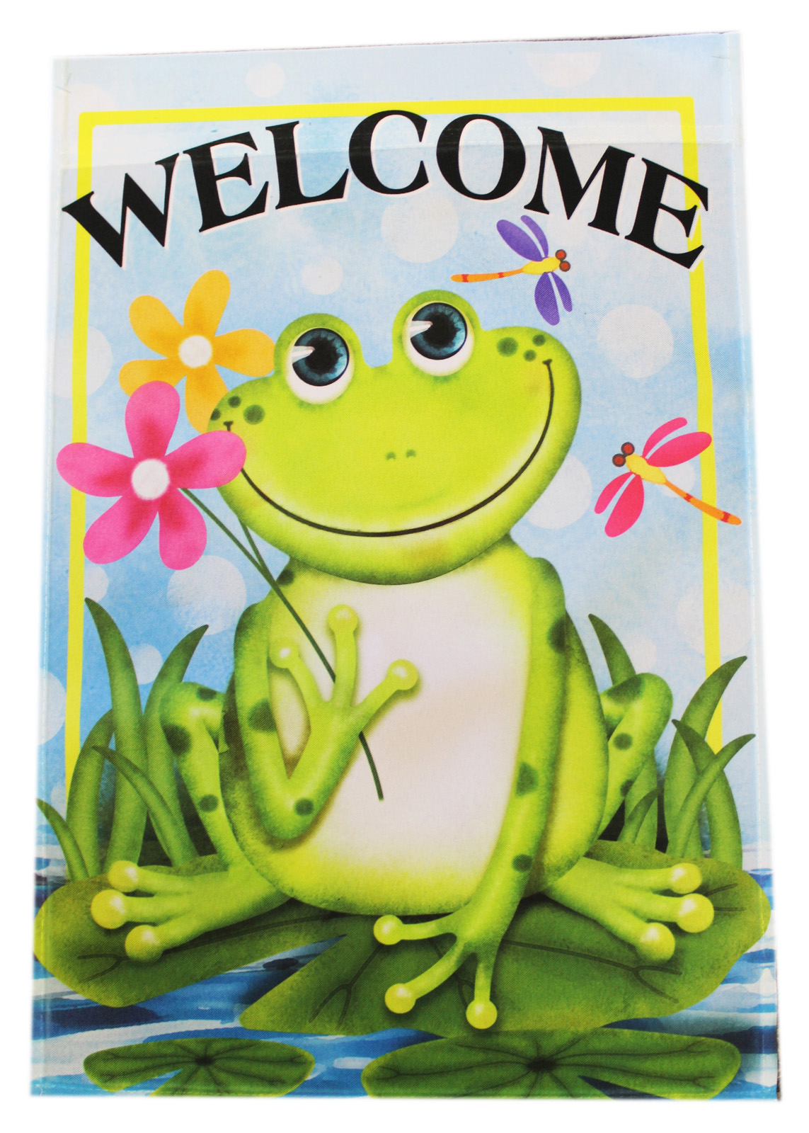Garden Accents Lilypad Smiling Frog Welcome Flag By Ganz (No Stand) by