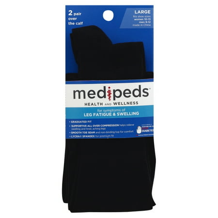 d0716e2acb Medipeds compression socks large, black, 2 pr - Walmart.com