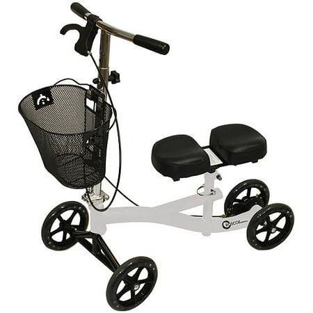 Roscoe Medical Knee Walker Scooter with Basket and Padded Seat, White (White Walker)