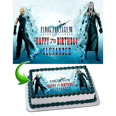 Final Fantasy Edible Cake Topper Personalized Birthday 1/4 Sheet Decoration Custom Sheet Party Birthday Sugar Frosting Transfer Fondant Image for
