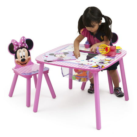 Disney Minnie Mouse Wood Kids Storage Table and Chairs Set by Delta (Small Wooden Table And Chairs For Toddlers)