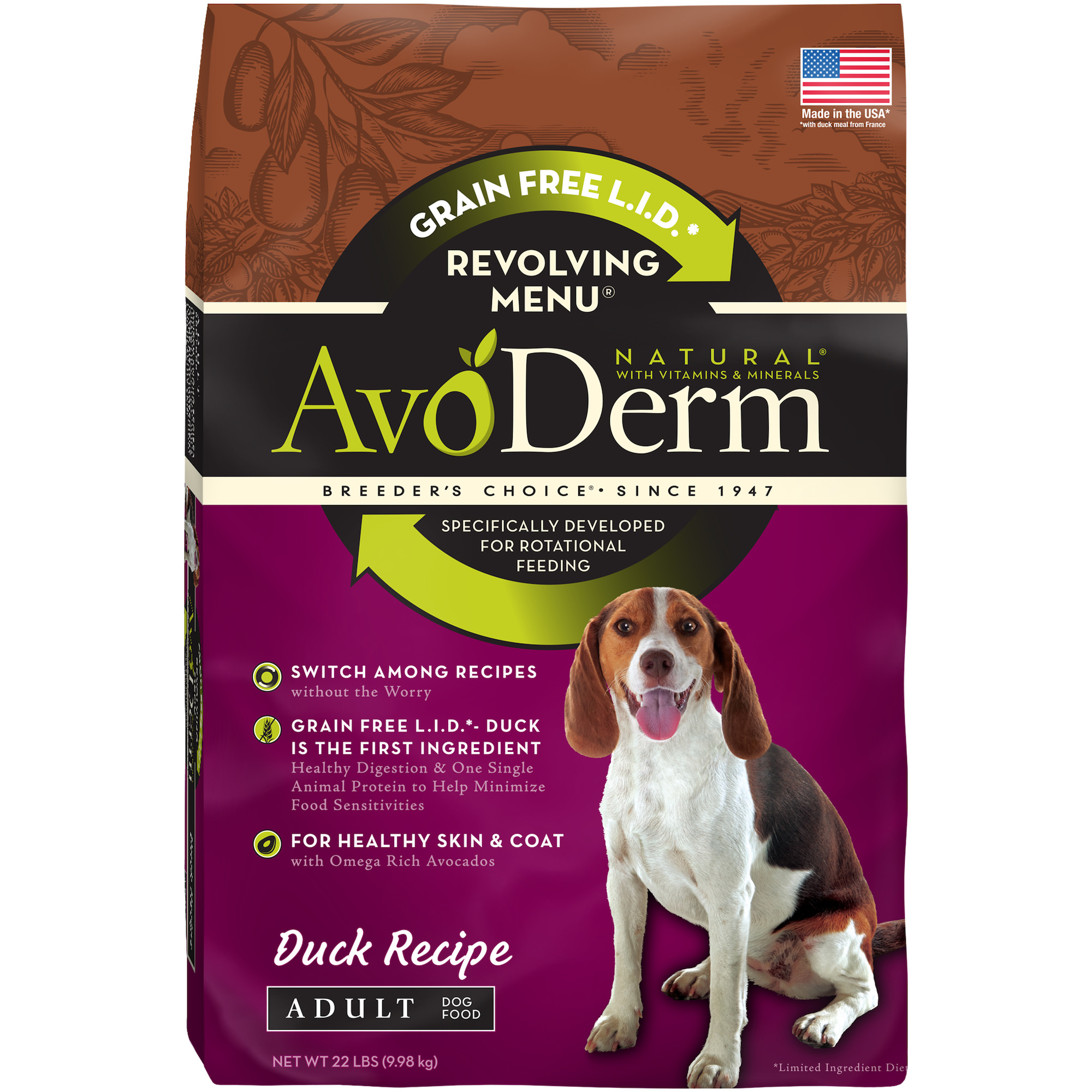 AvoDerm Natural Revolving Menu Adult Dog Food, Duck, 22-Pound