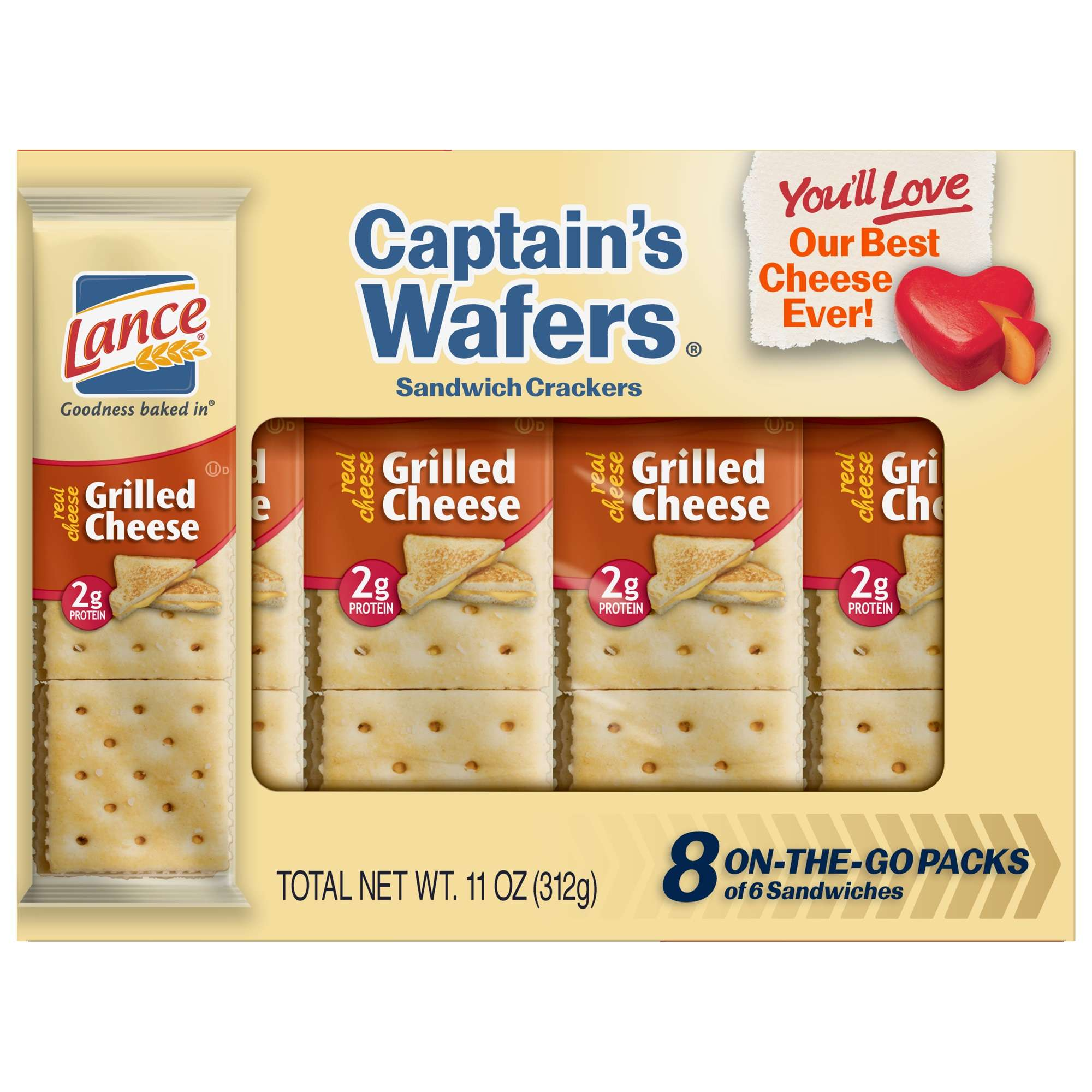 Lance Cracker Sandwiches Captain's Wafers Grilled Cheese - 8 Count