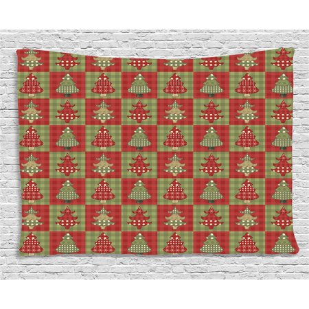 Christmas Tapestry, Different Styled Noel Trees on Checkered Squares Background Vintage Quilt, Wall Hanging for Bedroom Living Room Dorm Decor, 80W X 60L Inches, Ruby Reseda Green, by Ambesonne