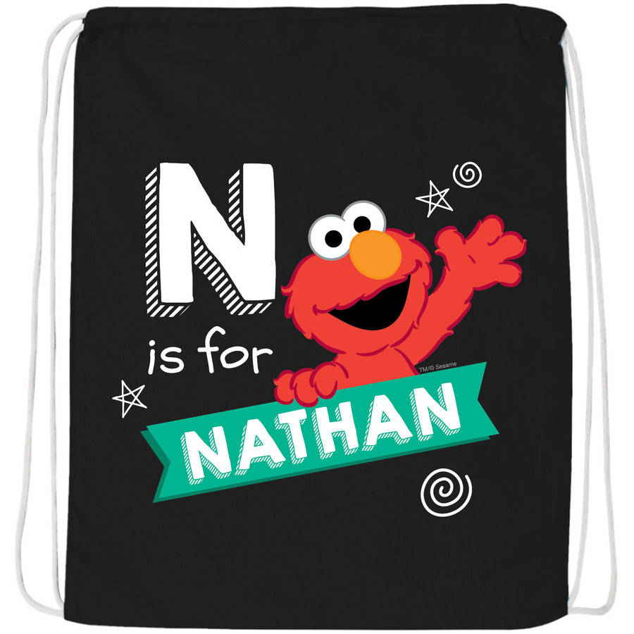 Personalized Sesame Street Chalkboard Swirl Black Drawstring Bag