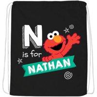 Personalized Sesame Street Chalkboard Swirl Black Drawstring Bag