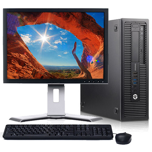 "HP EliteDesk 705 G1 Desktop Computer Bundle with AMD 3.5GHz Processor 4GB RAM 250GB HD DVD-RW Wifi Windows 10with a 19"" LCD Keyboard and Mouse-Refurbished"