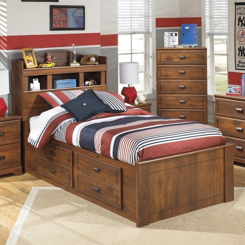 Ashley Barchan Wood Twin Bookcase Double Drawer Bed in Brown