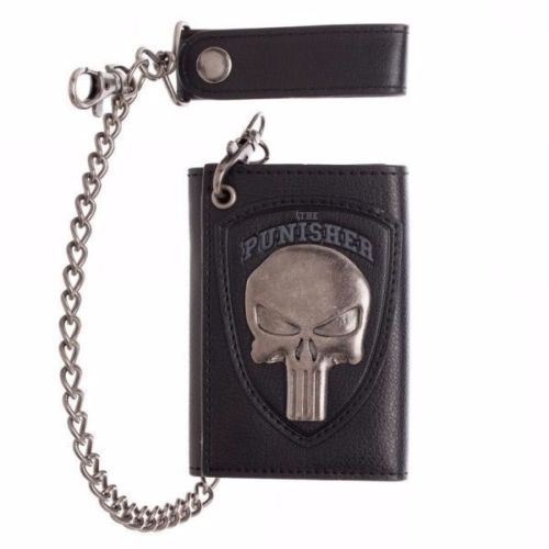 MARVEL COMICS THE PUNISHER Metal Skull Logo Trifold Wallet With Chain