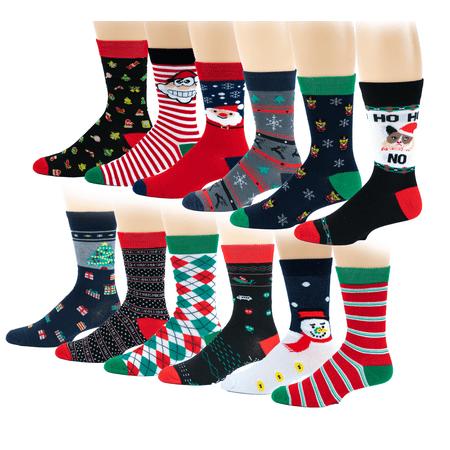 12 Pairs Pack Women Christmas Happy Holidays Novelty Crew Socks 9-11 (Cheap Christmas Socks)