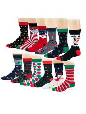 27fffca25b7 Product Image 12 Pairs Pack Women Christmas Happy Holidays Novelty Crew  Socks 9-11