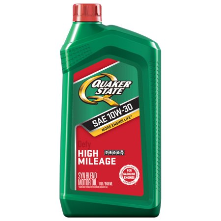 Quaker State High Mileage 10W-30 Synthetic Blend Motor Oil, 1 Quart (Quaker Shop)