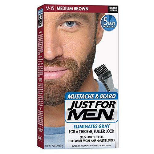 2 Pack - Just For Men Mustache and Beard Brush-In Color Gel, Medium Brown 1 Each