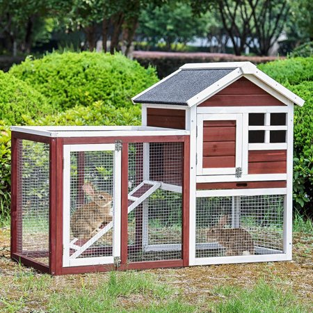 Merax Rabbit Bunny And Chicken Hutch House with Black Linoleum (The Best Rabbit Hutch)