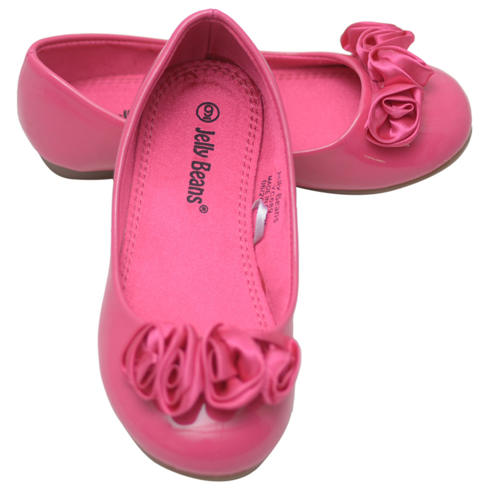 Jelly Beans Little Girls Fuchsia Rolled Flower Slip On Flats 9-10 Toddler