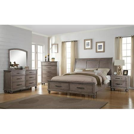 Langley 5 Piece Queen Storage Bedroom Set with 2 Nightstands in Weathered  Wood Grain Grey