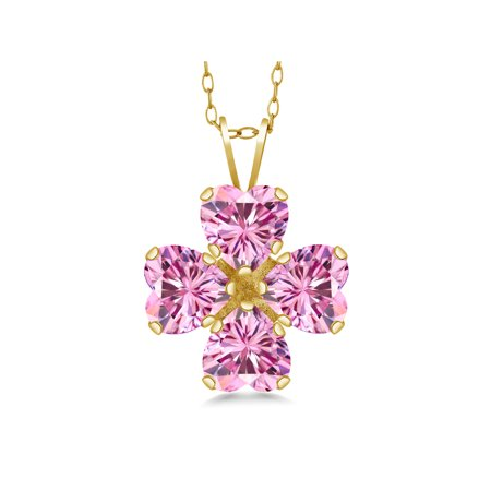 18K Yellow Gold Plated Silver Pendant Pink Created Moissanite Created Moissanite Pink 1.60ct DEW 18k Yellow Gold Pin