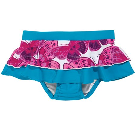 Sun Smarties Baby Girl Swim Diaper Skirt - Blue with Pink Butterflies - Public Pool Approved (Toddler Girls Swim Skirt)