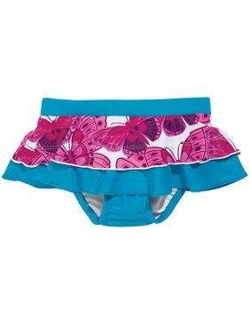 Sun Smarties Baby Girl Swim Diaper Skirt - Blue with Pink Butterflies - Public Pool Approved