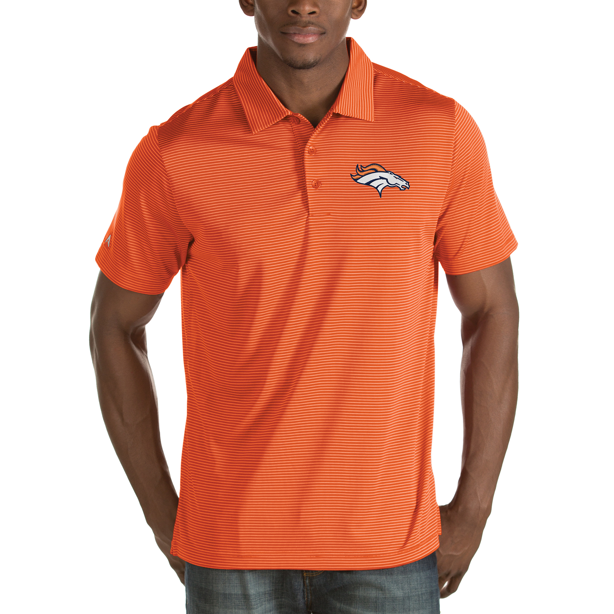 Denver Broncos Antigua Quest Stripe Polo - Orange