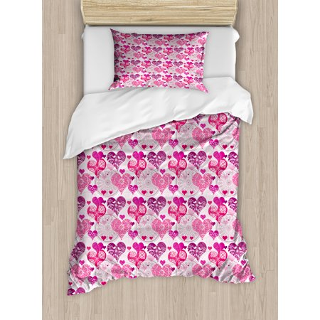 Hearts Twin Size Duvet Cover Set, Valentines Day Inspired Ornamental Symbols of Love Pattern in Pink Tones, Decorative 2 Piece Bedding Set with 1 Pillow Sham, Hot Pink Purple Pink, by Ambesonne