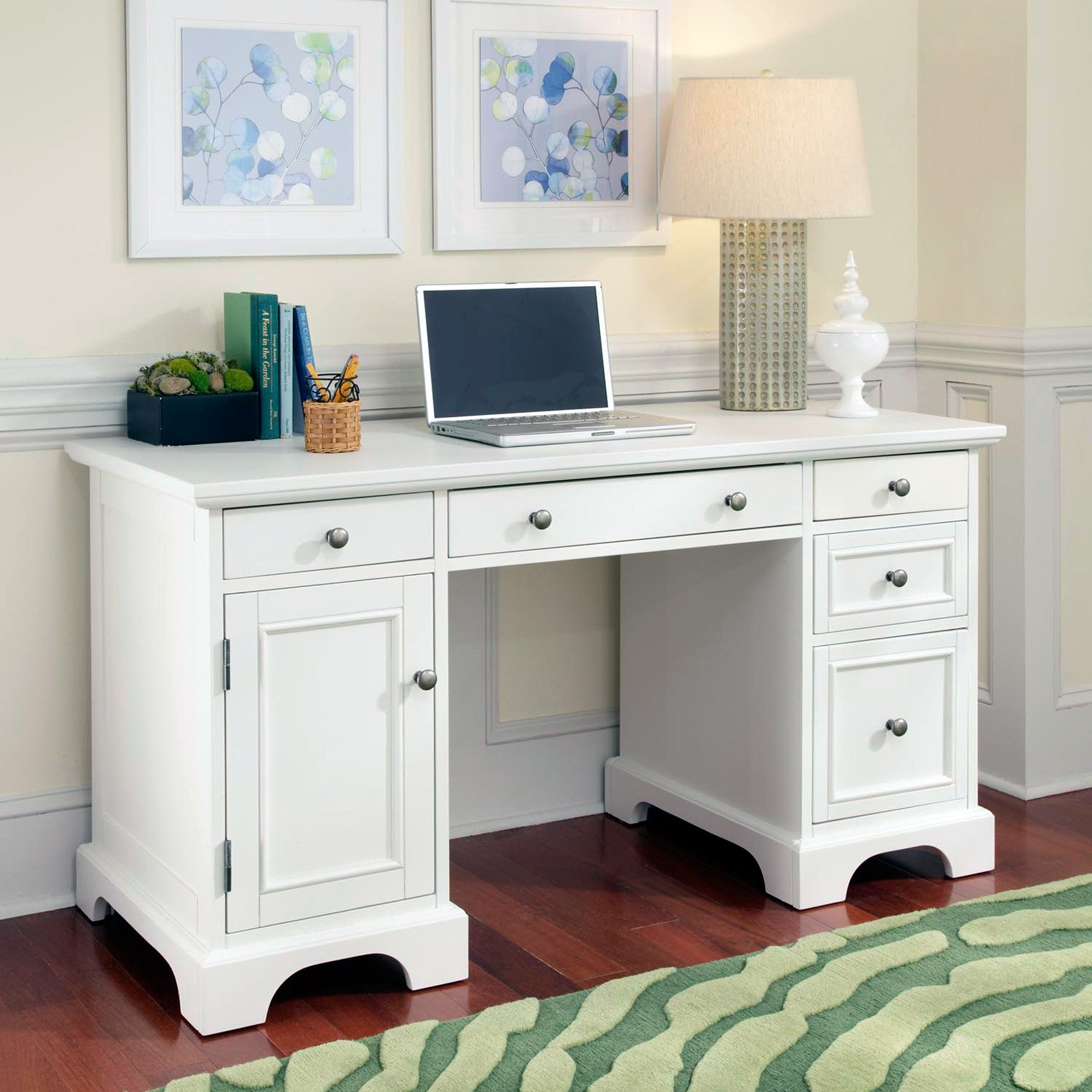 Naples Pedestal Desk White Finish