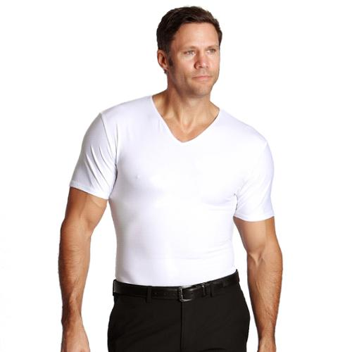 Insta Slim Compression V-neck Shirts (3-pack) 3PK-White-Large