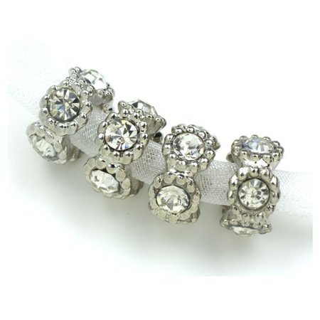 Cousin Metal Rhinestone Spacer Cystal Bead, 4 Piece ()