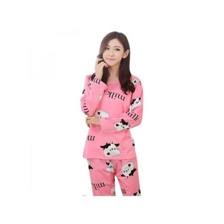 Ropalia Women Long Sleeve Lovely Sleepwear Cartoon Pajamas (Cartoon Pajamas)