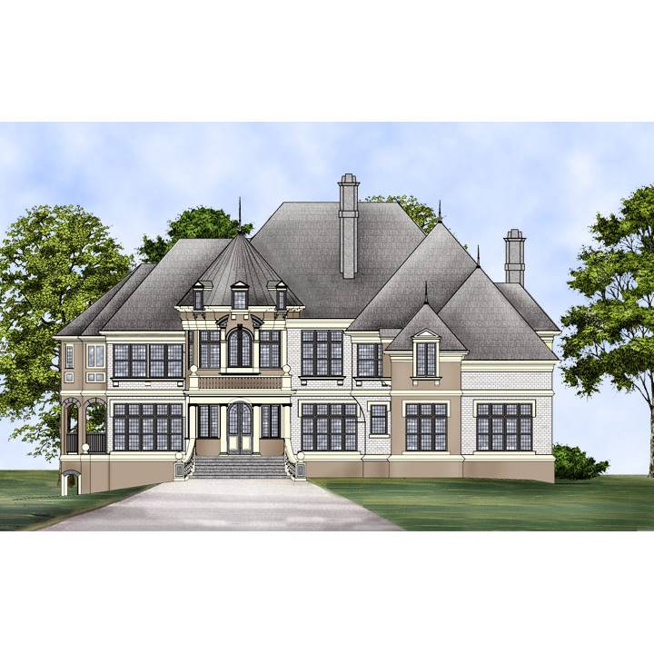 TheHouseDesigners-8216 European House Plan with Basement Foundation (5 Printed Sets)