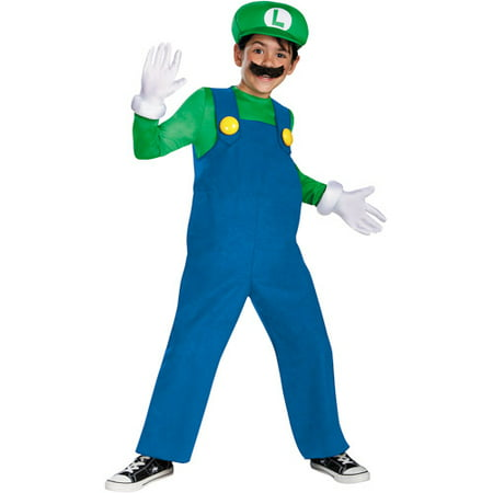 Super Mario Brothers Luigi Deluxe Child Halloween Costume (Halloween Costumes Mario Luigi Princess Peach)