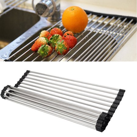 EEEKit Stainless Steel Over the Sink Dish, Flexible Roll-up Dish Drying Dryer Drainer Rack, Kitchen Drain Rack Foldable Easy to Store