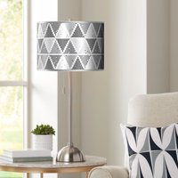 Giclee Gallery Pointillism Silver Metallic Giclee Brushed Nickel Table Lamp