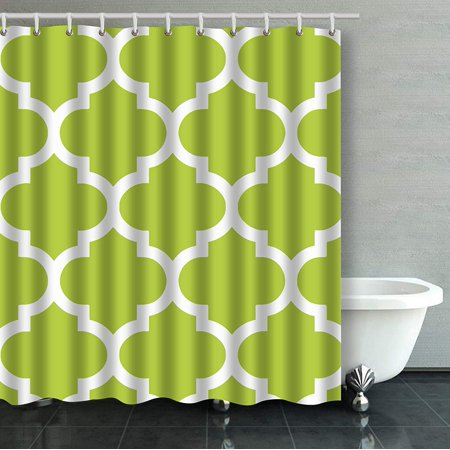 WOPOP Moroccan Quatrefoil In Olive Green Bathroom Shower Curtain