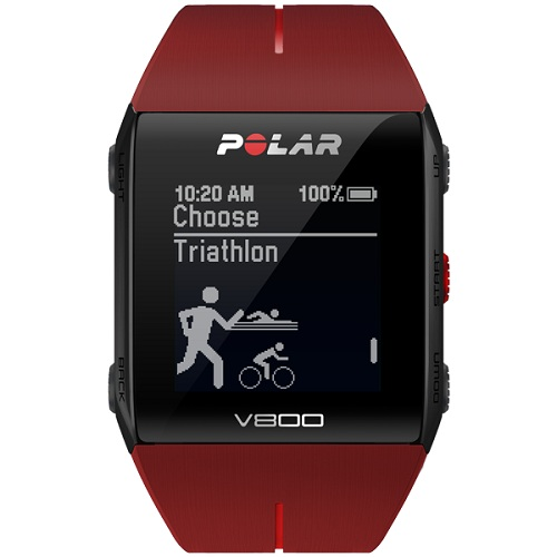 Polar V800 Red Fitness Watch With HRM & Displays Workout Data Summary & Waterproof upto 30 meters