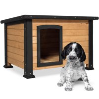 """Best Choice Products Wooden Weather-Resistant Log Cabin Dog House, Small, 25""""x34""""x22.25"""", Brown"""