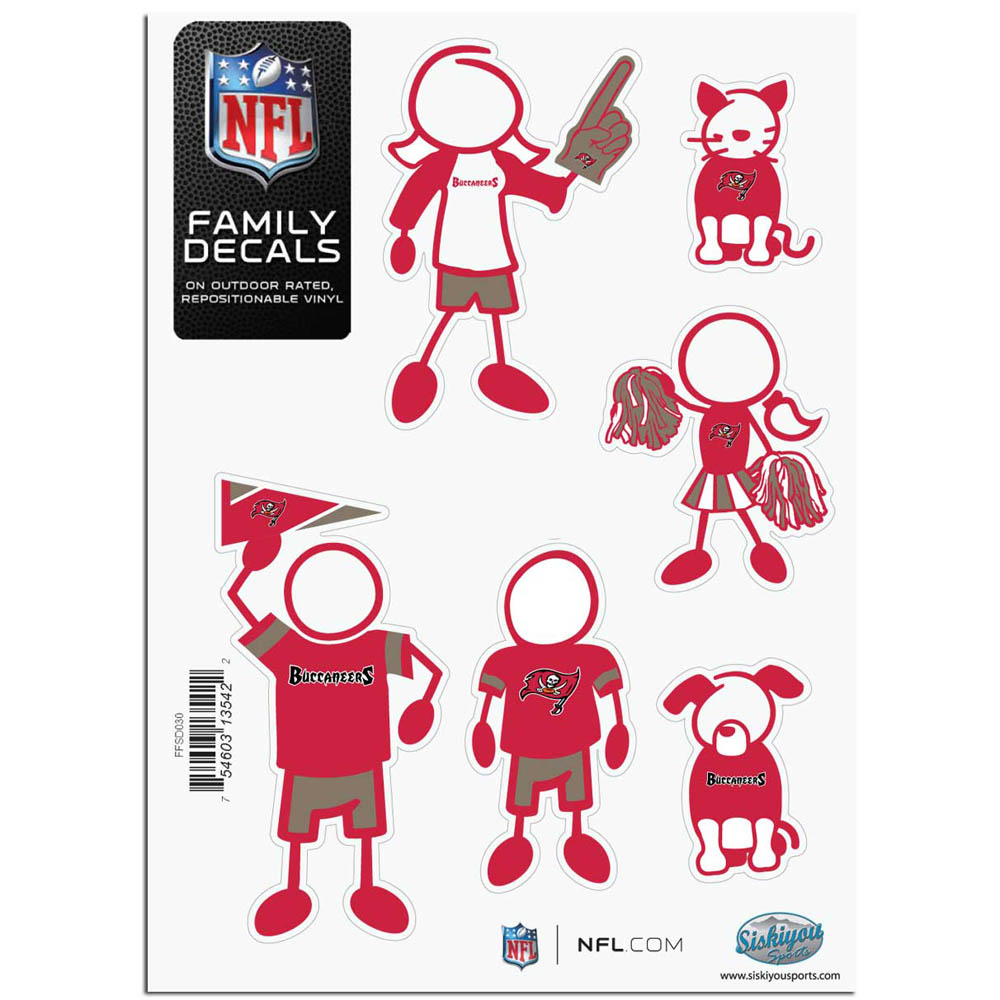 Tampa Bay Buccaneers Official NFL Small Family Decal Set by Siskiyou 135422