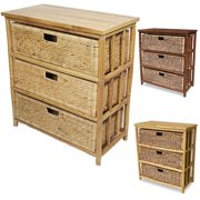 Heather Ann Open Sides Bamboo Cabinet with 3 Drawers Natural and Natural