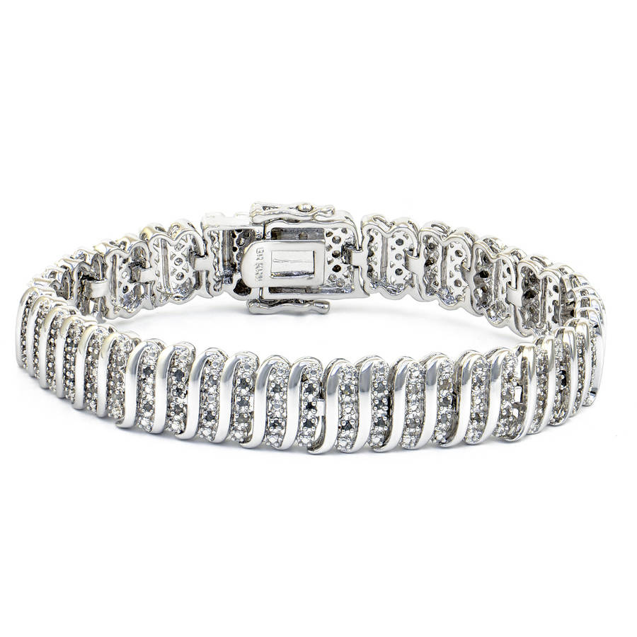 1.0 Carat T.W. Round White Diamond Rhodium-Plated Tennis Bracelet